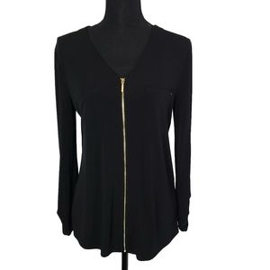 Ellen Tracy Black Full Zip Front Top Size Medium